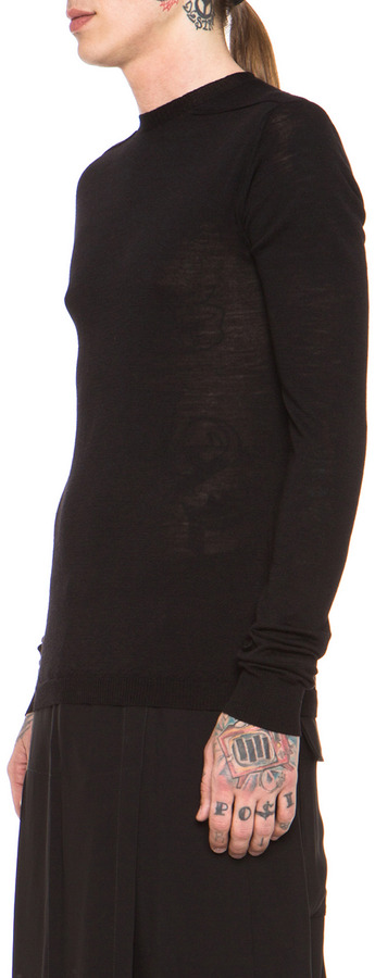 Rick Owens Biker Level Round Neck Sweater in Black