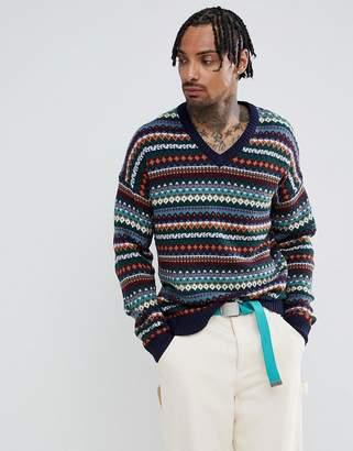 Asos DESIGN V-neck fairisle sweater in navy