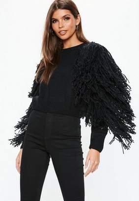 Missguided Black Fringle Tassle Sleeve Cropped Sweater