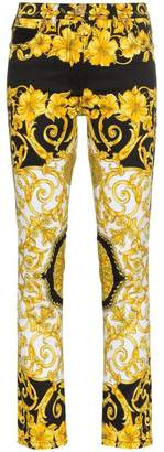 Versace Low-Rise Patterned Skinny Jeans
