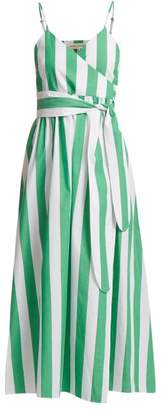 Mara Hoffman Alma Bungalow Stripe Wrap Dress - Womens - Green Stripe