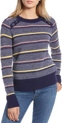1901 Button Detail Stripe Wool Blend Texture Sweater