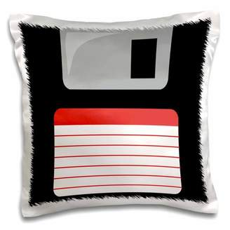 3dRose Retro 90s computer black floppy disk graphic design with red label - 1990s - ninties computer tech - Pillow Case, 16 by 16-inch