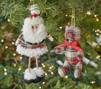 Pottery Barn Kids Classic Plaid Santa Ornament: Santa