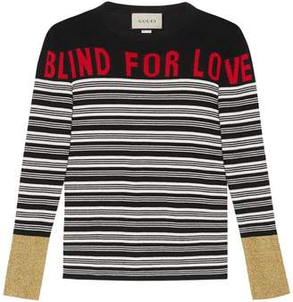 Gucci Blind for Love striped knit top