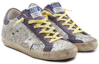 Golden Goose Super Star Glitter Sneakers with Suede