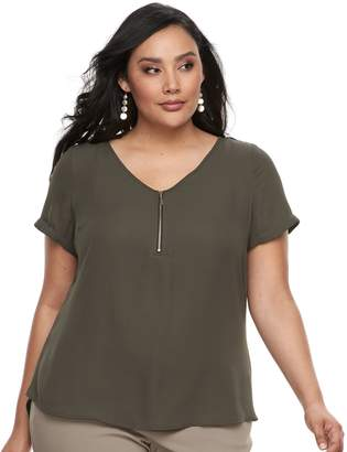 Apt. 9 Plus Size Zipper-Front Georgette Top