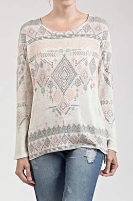 Blu Pepper Printed Pattern Sweater