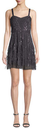 Parker Black Jordanna Mini Cocktail Dress w/ Feathers & Beads