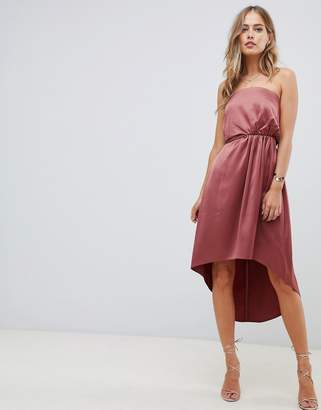 Asos DESIGN midi bandeau satin dress with knot back detail