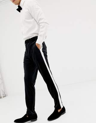 Asos Design DESIGN skinny tuxedo prom suit trousers in black