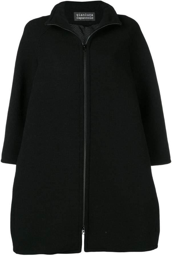 zip-up flared coat