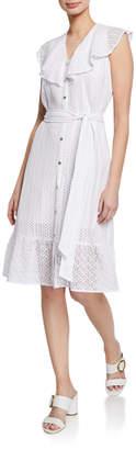 MICHAEL Michael Kors Lace Ruffle Self-Tie Dress