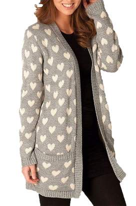 Rimi Hanger Womens Open Front Heart Printed Chunky Knitted Cardigan