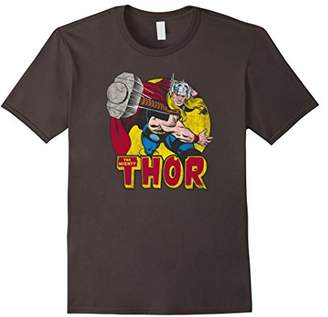 Marvel Mighty Thor Hammer Throw Vintage Graphic T-Shirt