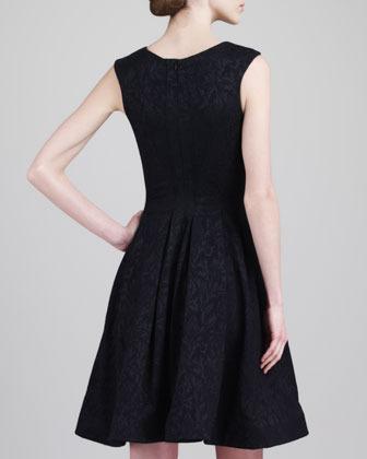 Zac Posen Sleeveless Jacquard Party Dress, Black