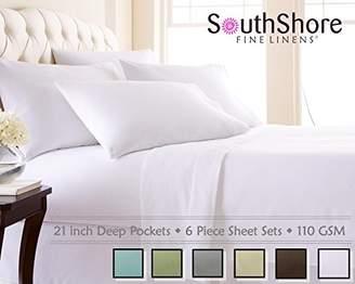 Southshore Fine Linens 6 Piece - Extra Deep Pocket Sheet Set - WHITE - King