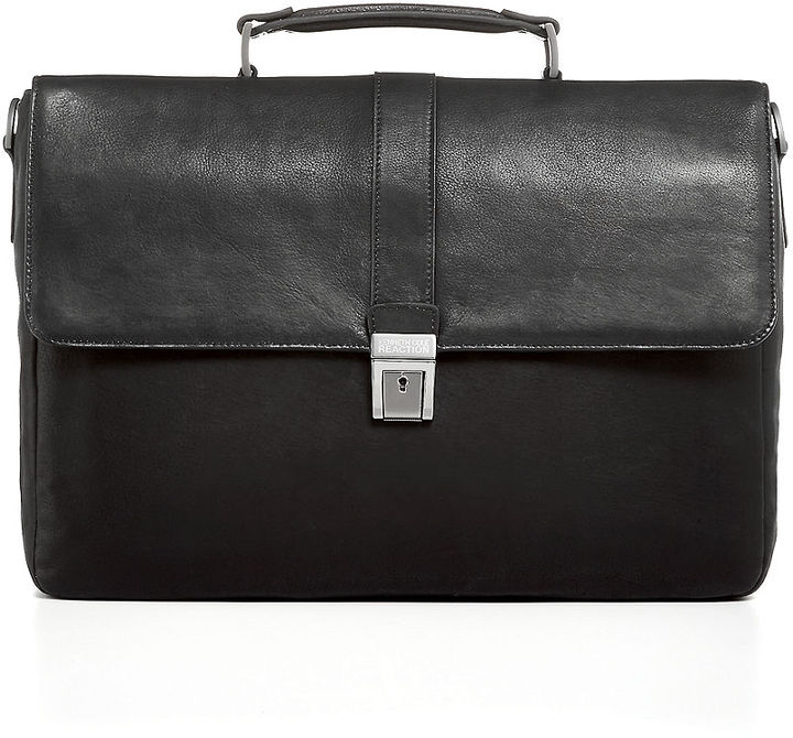 """Kenneth Cole Reaction Leather 4"""" Colombian Single Gusset Briefcase"""