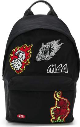 McQ Flaming badge patch backpack