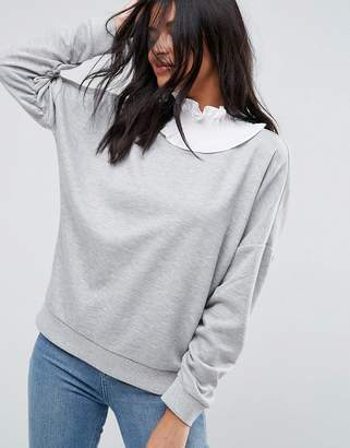 Asos Design Sweatshirt with Shirred High Neck