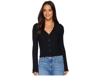 Three Dots Viscose Rib Crop Cardigan