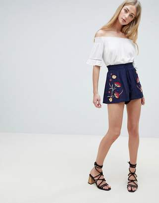 Brave Soul Greeta Shorts with Floral Embroidery