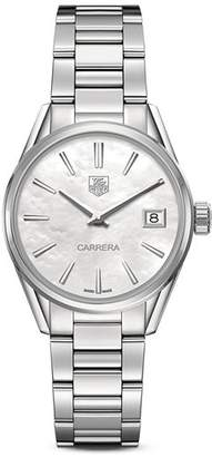 Tag Heuer Carrera Stainless Steel and White Mother of Pearl Dial Watch, 32mm