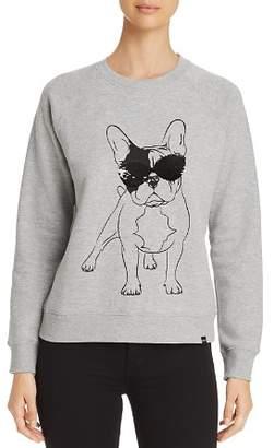 Andrew Marc Sequin Sunglasses Dog Graphic Sweatshirt