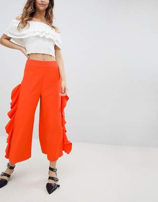 Miss Selfridge Ruffle Wide Leg Crop Pants