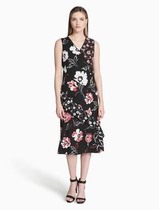 Calvin Klein mixed print floral dress