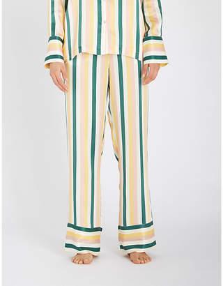 Asceno Striped silk-satin pyjama bottoms