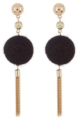 Ettika Thread Circle & Chain Tassel Dangle Earrings
