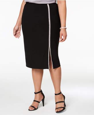 MSK Plus Size Embellished A-Line Skirt