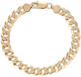 FINE JEWELRY Mens 18K Yellow Gold Over Silver 8, 8.4mm Curb Chain Bracelet