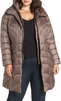 Bernardo Glossy Hooded Walker Coat