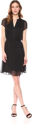 MSK Women's Polka Dot Short Sleeve Woven Pintuck Shirt Dress, Black/White