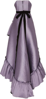 Philosophy di Lorenzo Serafini Ruffled Polka-Dot Jacquard High-Low Gown