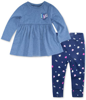 Levi's Baby Girls 2-Pc. Knit Peplum Top & Printed Leggings Set