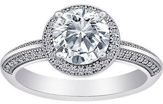 Majestic MicroPave CZ Large Solitaire Splendor Ring in Sterling Silver