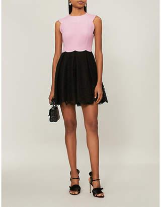 Valentino Scalloped wool and lace mini dress