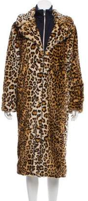 Ganni High-Low Leopard Coat