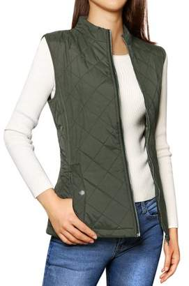 Unique Bargains Woman Zipper Stand Collar Quilted Padded Vest Green M
