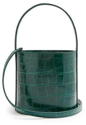 STAUD Bissett Crocodile Effect Leather Bucket Bag - Womens - Green