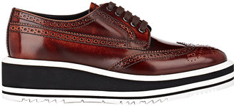 Prada Women's Wingtip Brogue Platform Sneakers-DARK BROWN, BURGUNDY $975 thestylecure.com