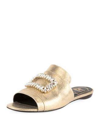 Roger Vivier Strass-Buckle Metallic Canvas Slide Sandal