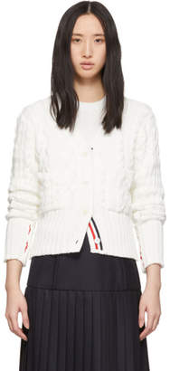 Thom Browne White Aran Cable Funmix Cardigan
