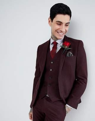 Blend of America Harry Brown Burgundy Flannel Slim Fit Wool Suit Jacket