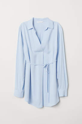 H&M MAMA Blouse with Tie Belt - Blue