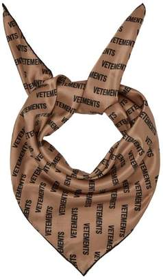 Vetements Monogram Silk Scarf - Womens - Beige