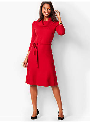 Talbots Cowlneck Fit & Flare Sweater Dress